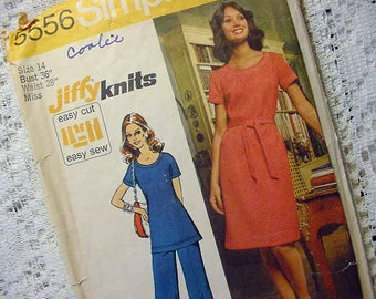 Vintage Simplicity 5556 Sewing Pattern 1973 Size 14 Dress / Tunic and Pants Stretch Knits