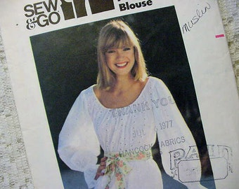 Vintage Butterick 5374 Peasant Top Pattern 1977 Size 8
