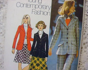 Vintage Simplicity 5212 Pattern Blazer,Skirt and Pants Size 14 1972 Sewing