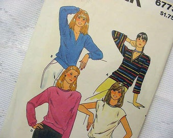 Butterick 6773 Top 4 Styles Sewing Pattern 1980s Size P-S-M Stretch Knits