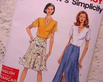 Simplicity 7208 Sewing Pattern Tulip or Trumpet Skirt and Top 90s Size 6 to 16