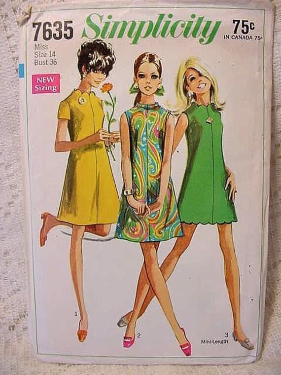 Vintage A line Dress Pattern Simplicity 7635 by TheVioletJuneBug