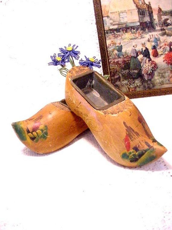 SALE Holland Wooden Clog Shoe (s) Planters, Dutch, Souvenir, Collectible