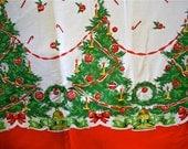 Vintage Christmas Fabric 1950s Trees Border Mid Century 2 Yards
