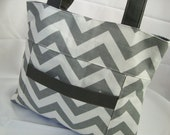Gray Chevron Everyday Shoulder Bag
