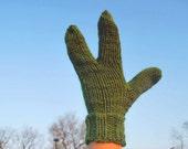 Ready to Ship Alien Hand Knit Kiwi Green Warm Three Fingered Gloves or Mittens Fun Unusual