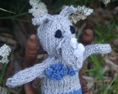 Ready to Ship Hand Knit Storm Grey and Sapphire Blue Rhino Mermaid Plush Doll with Black Eyes for Children