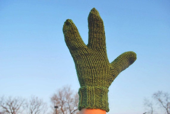 Ready to Ship Alien Hand Knit Kiwi Green Warm Three Fingered Gloves or Mittens Fun Unusual