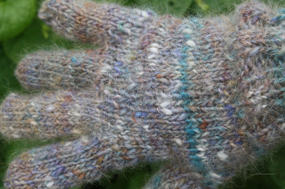 Ready to Ship New Hand Knit Winter Hued Angora and Wool Gloves