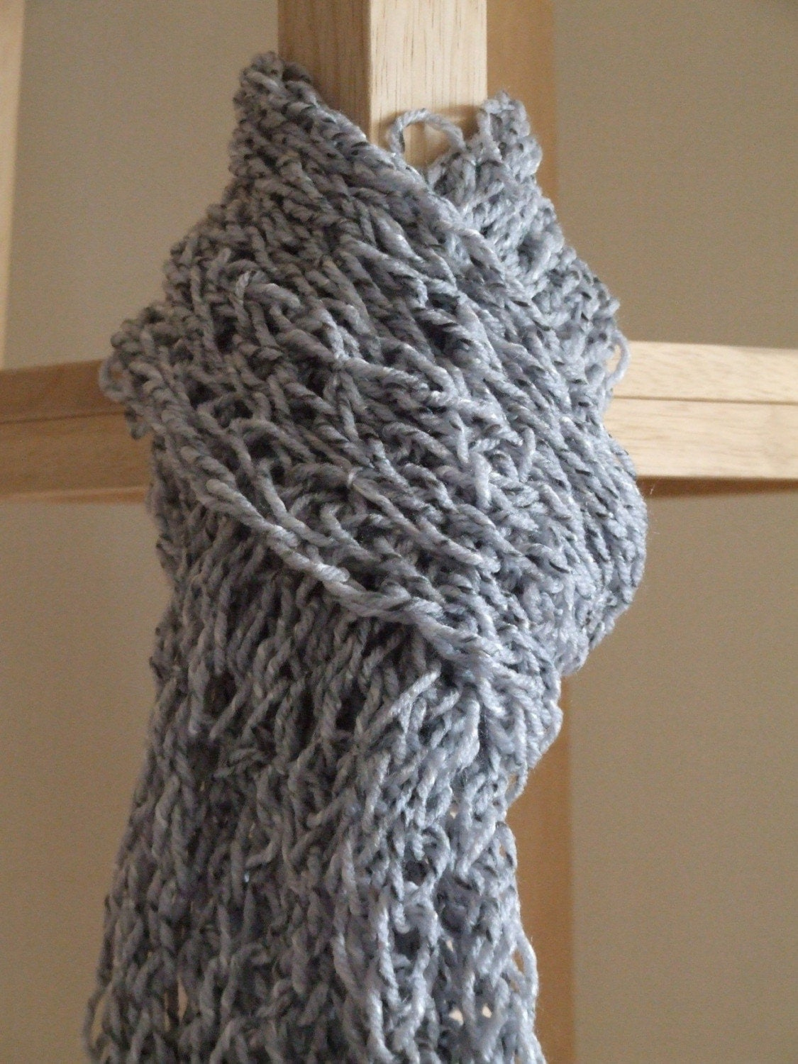 light gray thick finger knit scarf