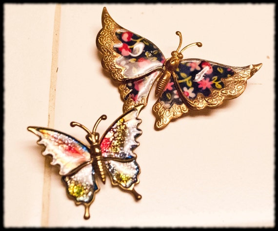 Vintage Metal Butterfly Pin Set of 2