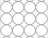 2 inch standard white circle labels, 10 sheets (200 labels)