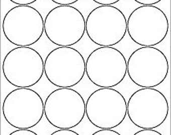 "2"" matte white, printable circle labels w/ PERMANENT adhesive, 10 sheets (200 labels). Use for jelly jar lids/ labels, product labels, gifts"
