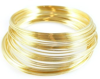 2.25 inch gold plated stainless steel bracelet memory wire, 1oz. (approx. 70 loops)