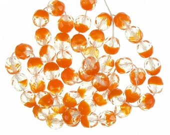 "8mm faceted round, two tone  crystal/ orange Czech fire polished glass beads, 7"" strand (approx. 22 beads). Fun, beach, pumpkin, Halloween"