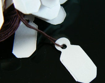 Medium white jewelry string tags/ merchandise price tags, 100 pieces