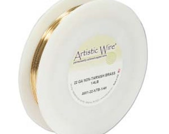 22 gauge non-tarnish brass plated artistic wire, 1/4 lb. spool