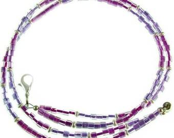 "OVERSTOCK SALE! Purple & lavender beaded break away ID badge holder, 17.75"" long"