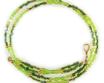 """OVERSTOCK SALE! Light and dark green beaded break away lanyard, necklace, and more- gold, 17.75"""" long"""