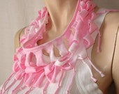 womens shredded fringed tshirt scarf   jersey scarf   jersey necklace. pink tiedye