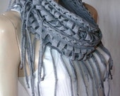 shredded braided fringed recycled tshirt scarf , upcycled jersey scarf , infinity scarf , eternity scarf