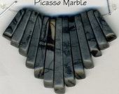 Cleopatra Fan Necklace Bead Set Gray Picasso Marble