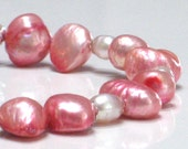 SALE Bright Pink Pearl Necklace - Peony