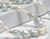 SALE Aqua Necklace, White Mint Pearl Necklace Spring Fashion Under 25 - Frosted Seafoam