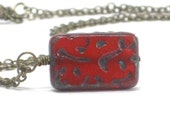 Red Pendant Necklace, Blood Picasso Pendant Antiqued Brass Statement Necklace Under 25 - Scratch
