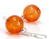 Tangerine Earrings, Orange Hand Blown Glass Sterling Silver Dangle Earrings Fashion Under 25- Tangelos