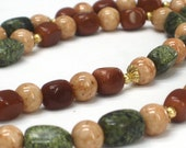 SALE Brown Green Necklace, Tan Riverstone Brown Goldstone Olive Green Long Woodland Necklace - Amazon Jungle