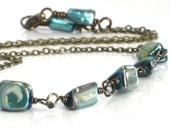 SALE Turquoise Necklace, Mother of Pearl Antiqued Brass Wire Wrapped Necklace Choker Fall Fashion Woodlands - Horizon