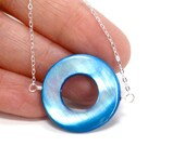 Sterling Silver Blue Circle WDD Pendant Necklace World Diabetes Day Awareness Support JDRF
