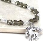 Unicorn Bracelet, Unicorn Charm Gray Diabetes Awareness Jewelry DOC Jdrf Donations - Magical
