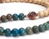 SALE Blue Sky Necklace, Jasper Necklace Turquoise Tan Copper Necklace - Beach