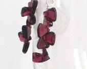 Garnet Earrings, Dark Red Long Dangle Earrings January Birthstone Fall Fashion Under 20 - Bordeaux