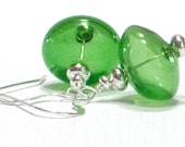 Green Earrings, Green Apple Hand Blown Glass Sterling Silver Dangle Earrings St. Patrick's Day Fashion- Granny Smith