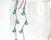 SALE Teal Earrings, Antiqued Brass, Long Dangle Earrings, Turquoise, Statement, Ocean, Waves