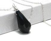 Black Teardrop Pendant, Jet Swarovski Crystal Sterling Silver Chain Wire Wrapped Gift Under 35 Minimalist - Silver Jet