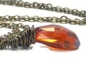 Orange Swarovski Pendant, Red Magma Crystal Pendant Antiqued Brass Fall Fashion Necklace Woodland Tangerine - Pumpkin Spice