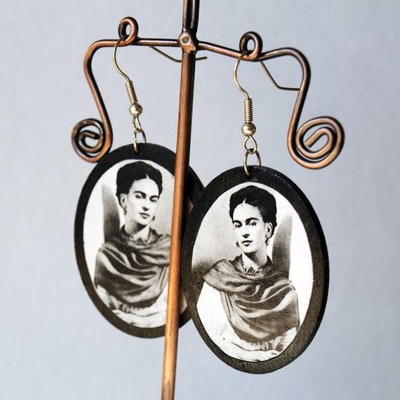 Frida Kahlo Portrait Wooden Earrings
