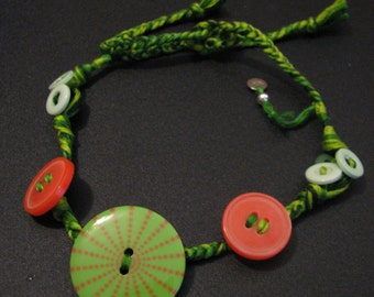Handmade Recycled Bohemian Button Watermelon Embroidery Thread Choker Necklace