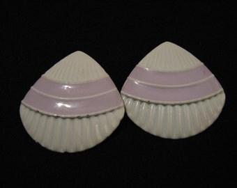 Vintage Big White and Lavender Purple Shell Fan Clip Earrings