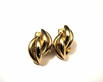 Vintage Gold Tone Swirled Knot Clip Earrings