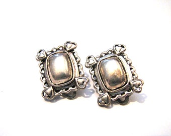 Vintage Square Silver Tone Puffy Heart Clip Earrings