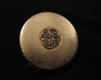 Vintage Elegant Gold Filigree Mirror Compact