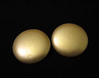 HUGE Vintage Round Creamy White Faux Pearl Clip Earrings