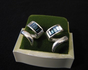Vintage Silver Tone and Blue Diamond Rhinestone Squiggle Pierced Earrings