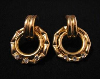 Vintage Gold Tone Diamond Rhinestone Round Bamboo Style Pierced Earrings