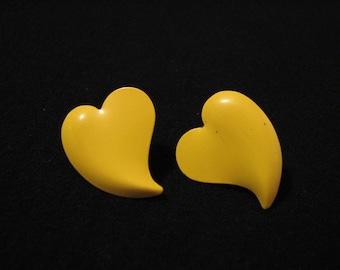 Vintage Yellow Metal Heart Pierced Earrings